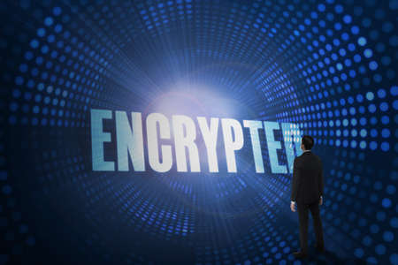 encrypted: The word encrypted and asian businessman against futuristic dotted blue and black background LANG_EVOIMAGES