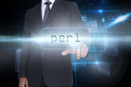 perl: The word perl and businessman pointing against black background with shiny squares