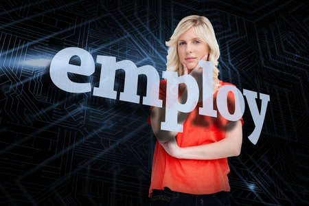 employ: The word employ and teenager standing upright thoughtfully with her fingers on her chin against futuristic black and blue background LANG_EVOIMAGES