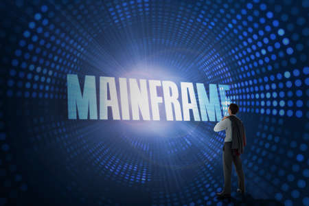 mainframe: The word mainframe and businessman holding his jacket against futuristic dotted blue and black background