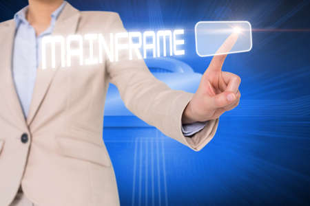 mainframe: Businesswomans finger touching mainframe button against lock on futuristic blue background