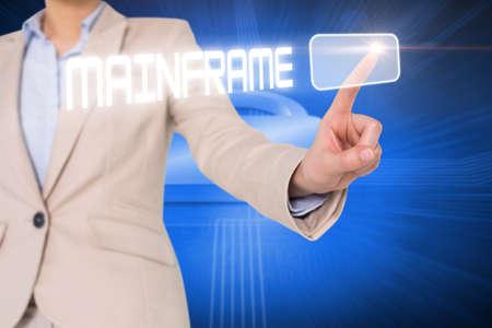 lock  futuristic: Businesswomans finger touching mainframe button against lock on futuristic blue background