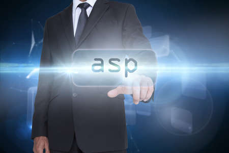 asp: The word asp and businessman pointing against glowing technological background LANG_EVOIMAGES