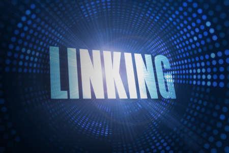 linking: The word linking against futuristic dotted blue and black background LANG_EVOIMAGES