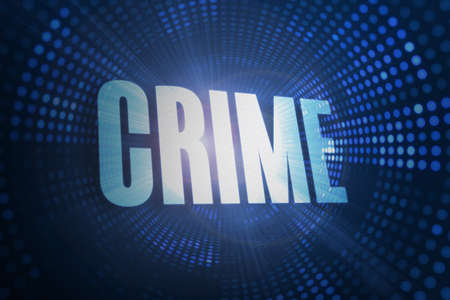 illegality: The word crime against futuristic dotted blue and black background LANG_EVOIMAGES
