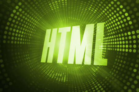html: The word html against green pixel spiral