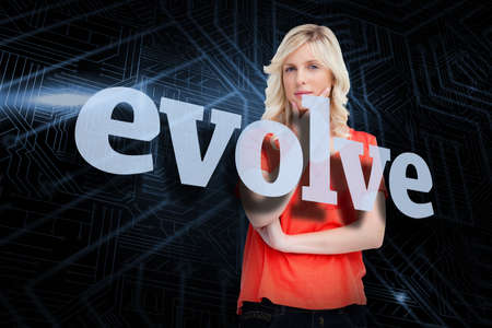 evolve: The word evolve and teenager standing upright thoughtfully with her fingers on her chin against futuristic black and blue background