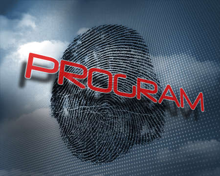 odcisk kciuka: The word program against fingerprint in sky