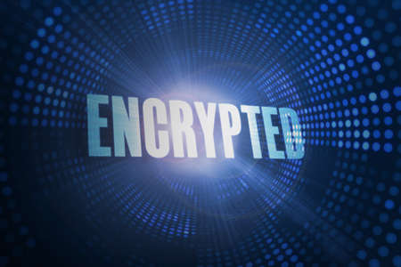 encrypted: The word encrypted against futuristic dotted blue and black background