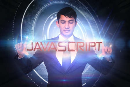 javascript: The word javascript and unsmiling businessman holding against glowing swirl on black background LANG_EVOIMAGES