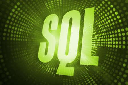 sql: The word sql against green pixel spiral