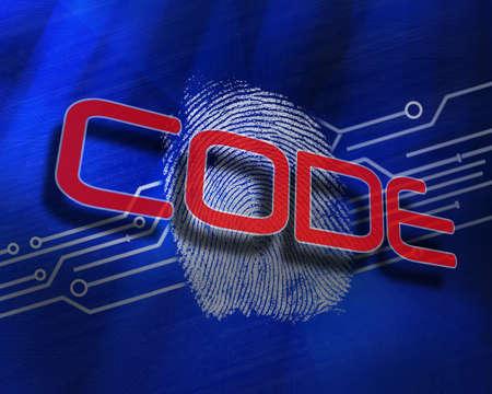 proportionate: The word code against fingerprint on digital blue background