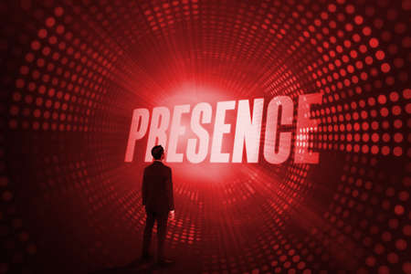 presence: The word presence and asian businessman against red pixel spiral