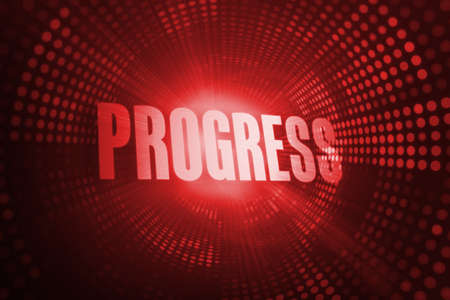buzzword: The word progress against red pixel spiral