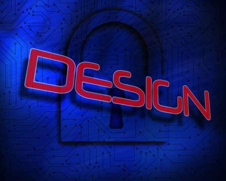 proportionate: The word design against lock on digital background LANG_EVOIMAGES