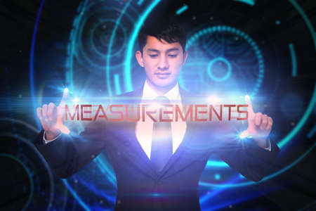 unsmiling: The word measurements and unsmiling businessman holding against glowing swirl on black background
