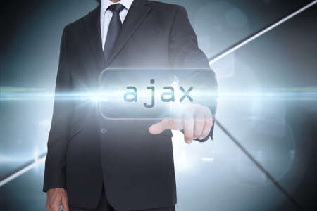 ajax: The word ajax and businessman pointing against futuristic screen with lines