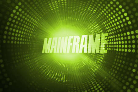 buzzword: The word mainframe against green pixel spiral