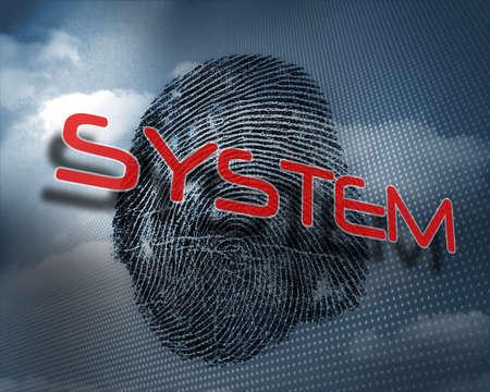 odcisk kciuka: The word system against fingerprint in sky LANG_EVOIMAGES