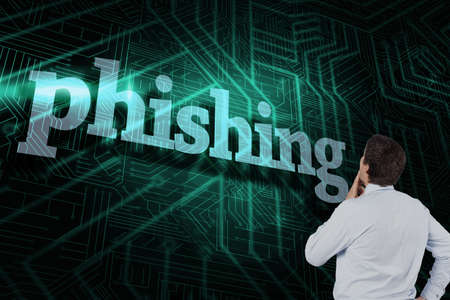 scamming: The word phishing and thinking businessman touching his chin against green and black circuit board
