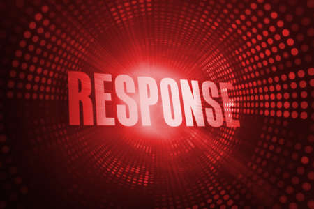 response: The word response against red pixel spiral