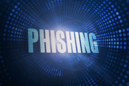 scamming: The word phishing against futuristic dotted blue and black background