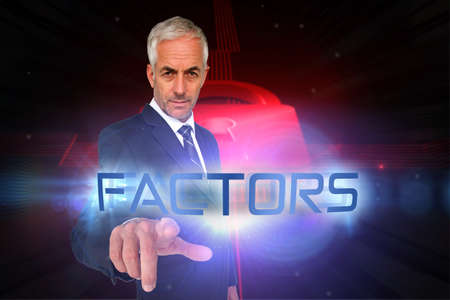 factors: The word factors and businessman pointing against shiny red lock on black background