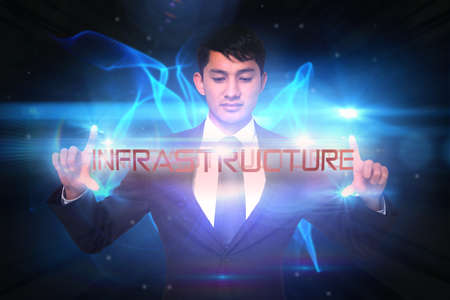 unsmiling: The word infrastructure and unsmiling businessman holding against glowing swirl on black background