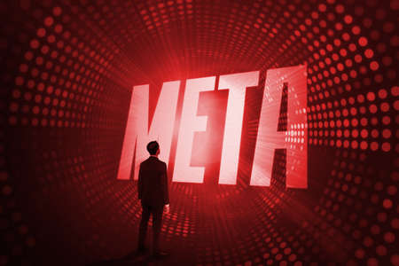 meta: The word meta and asian businessman against red pixel spiral