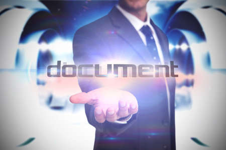 against abstract: The word document and businessman presenting against abstract cloud design in futuristic structure LANG_EVOIMAGES