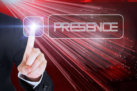 presence: Businesswomans finger touching presence button against abstract technology background