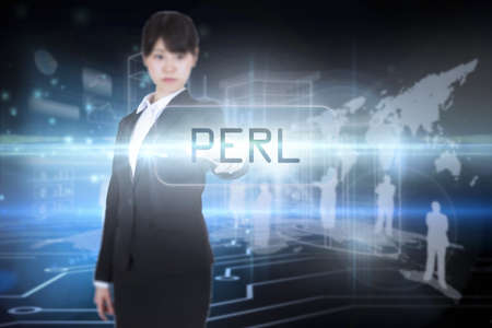 perl: The word perl and focused businesswoman pointing against circuit board on futuristic background