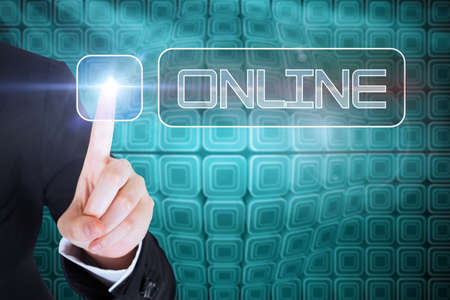 against abstract: Businesswomans finger touching online button against abstract technology background