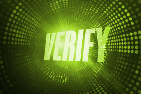 confirm confirmation: The word verify against green pixel spiral