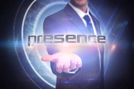 presence: The word presence and businessman presenting against black background with glowing circle