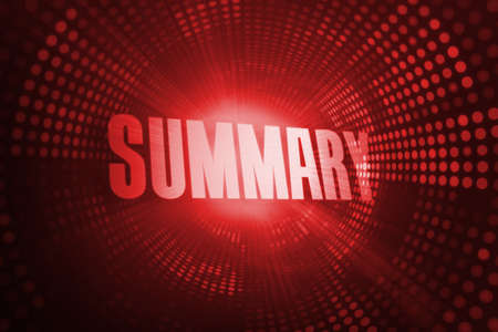 summary: The word summary against red pixel spiral