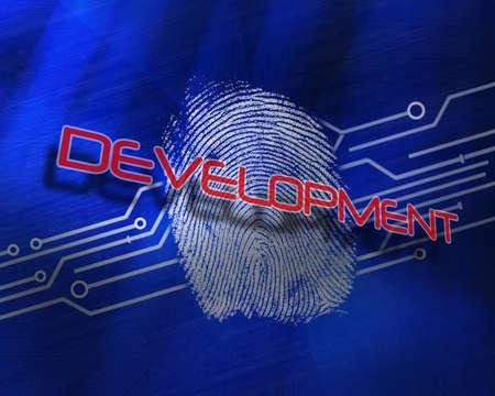 proportionate: The word development against fingerprint on digital blue background LANG_EVOIMAGES