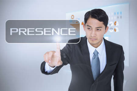 presence: The word presence and unsmiling asian businessman pointing against technology interface