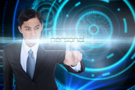 unsmiling: The word personal and unsmiling asian businessman pointing against futuristic technological background