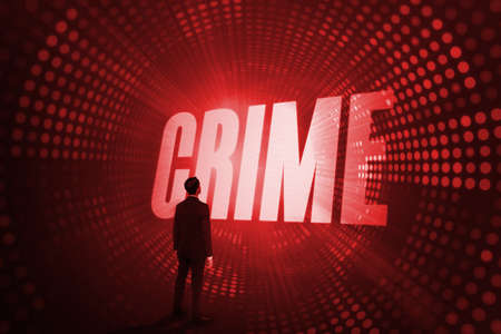 illegality: The word crime and asian businessman against red pixel spiral