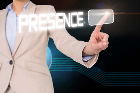 presence: Businesswomans finger touching presence button against glowing at icon on black background