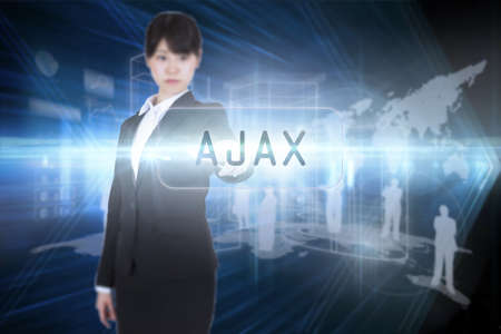 ajax: The word ajax and focused businesswoman pointing against shiny arrow lines on black background LANG_EVOIMAGES
