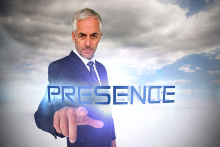 presence: The word presence and businessman pointing against cloudy sky