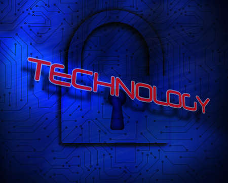 proportionate: The word technology against lock on digital background
