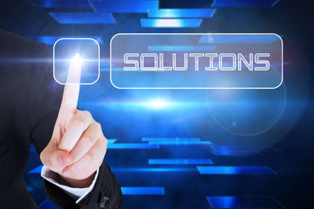 against abstract: Businesswomans finger touching solutions button against abstract technology background