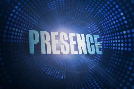 presence: The word presence against futuristic dotted blue and black background