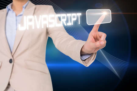 javascript: Businesswomans finger touching javascript button against shiny lines on black background