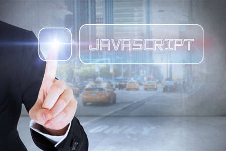 javascript: Businesswomans finger touching javascript button against urban projection on wall