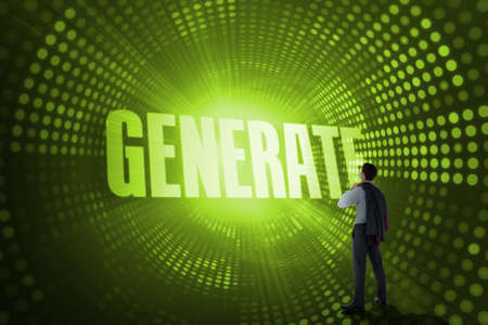 generate: The word generate and businessman holding his jacket against green pixel spiral LANG_EVOIMAGES