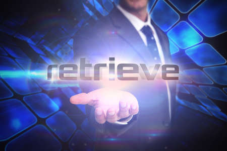 retrieve: The word retrieve and businessman presenting against room of shiny blue squares